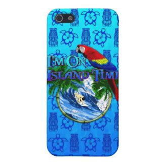 Insel-Zeit, die blaue Tiki Maske surft iPhone 5 Etuis