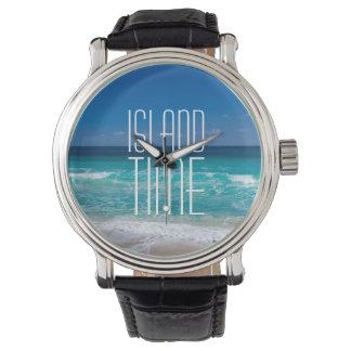 Insel-Zeit-tropisches Strand-Türkis-Wasser Uhr