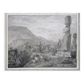 Inselbewohner u. Monumente von Osterinsel, 1786 Postkarte
