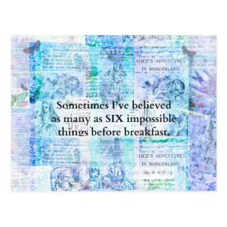 Inspirational Alice im Wunderland ZITAT Postkarte