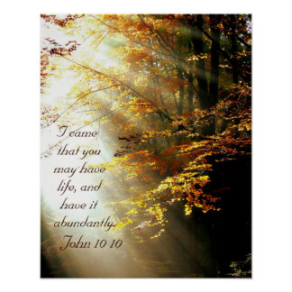 Inspirational Bibel-Vers John 10 10 Herbstlaub Poster