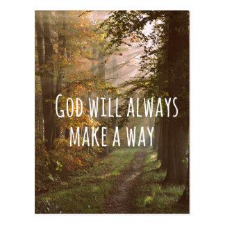 Inspirational christliches Zitat: Gott wird es tun Postkarte