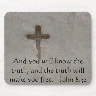 Inspirational christliches Zitat - John-8:32 Mousepads