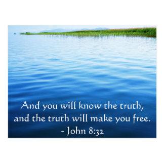 Inspirational christliches Zitat - John-8:32 Postkarte