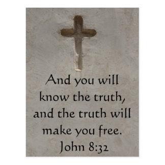 Inspirational christliches Zitat - John-8 32 Postkarte