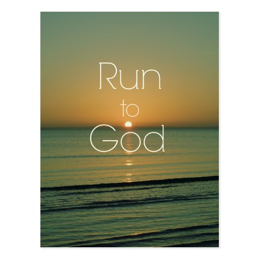 Inspirational christliches Zitat laufen gelassen Postkarte