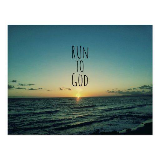 Inspirational christliches Zitat laufen gelassen Postkarten