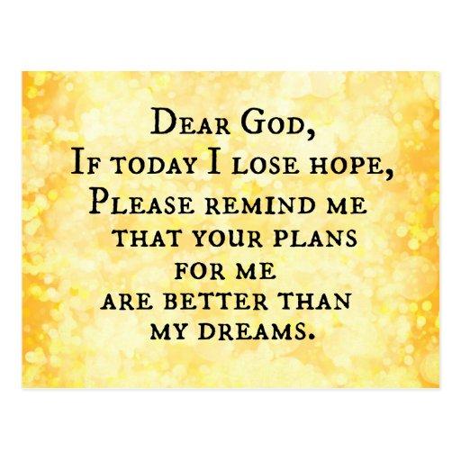 Inspirational christliches Zitat: Lieber Gott Postkarte