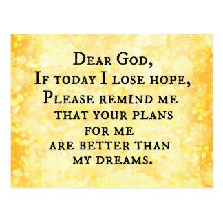 Inspirational christliches Zitat: Lieber Gott Postkarten