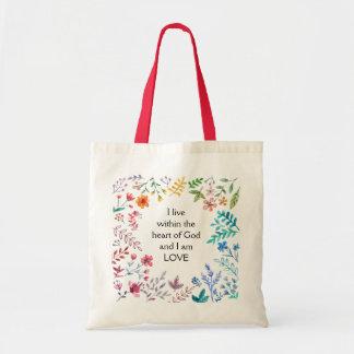 Inspirational Wildblumen bin ich Liebe Tragetasche