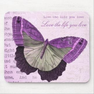 Inspirational Zitat des Vintagen rosa girly Mousepad