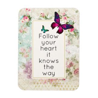 Inspirational Zitat mit hübschen Schmetterlingen Magnet