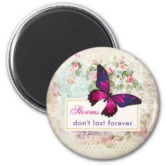 Inspirational Zitat mit Schmetterling auf Vintager Runder Magnet 5,1 Cm
