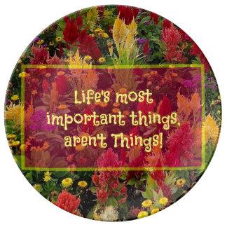Inspirational Zitat Sommer-Blumen-Garten-Orlandos Teller