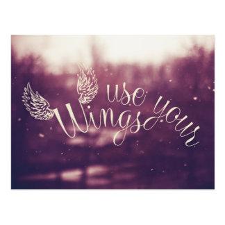 Inspirations-Zitat-Gebrauch Ihre Flügel-Postkarte Postkarte