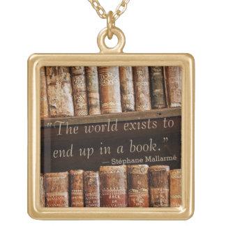 Inspirieren des altes Buch-Zitats Vergoldete Kette