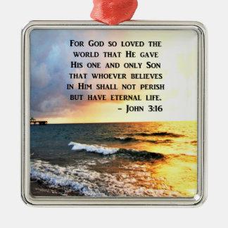 INSPIRIEREN DES JOHN-3:16 OZEAN-FOTO-ENTWURFS QUADRATISCHES SILBERFARBENES ORNAMENT