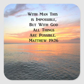 INSPIRIEREN DES MATTHEW-19:26 SONNENAUFGANG-FOTOS QUADRATISCHER AUFKLEBER