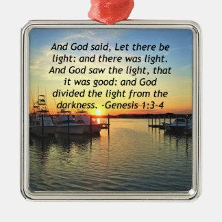 INSPIRIEREN DES SONNENUNTERGANG-GENESE-1:3 QUADRATISCHES SILBERFARBENES ORNAMENT