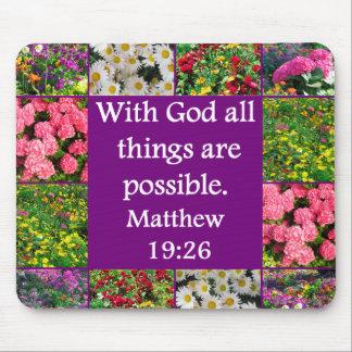 INSPIRIEREN MATTHEW-19:26 BLUMENentwurfs Mousepad