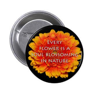Inspirieren von Zitaten mit Blumen Runder Button 5,1 Cm