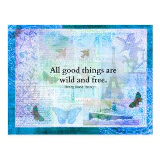 Inspirierend FREIHEITS-Zitat Henry David Thoreaus Postkarte