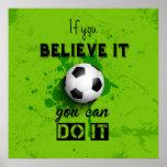 Inspirierend Fußballzitat-Typografieplakat Plakate
