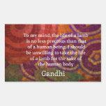 Inspirierend Gandhi Tierrecht-Zitat KUNST Rechtecksticker