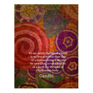 Inspirierend Gandhi Tierrecht-Zitat KUNST Postkarte