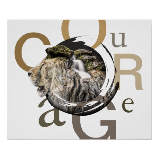 Inspirierend Löwe-und Wasserfall-Mut-Entwurf Poster