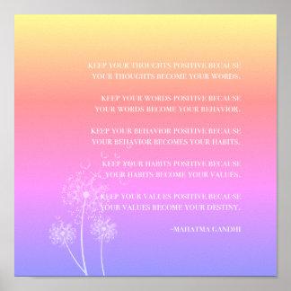 Inspirierend positives Denken des Zitat-  Gandhi Poster
