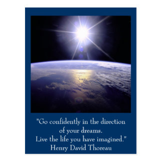 Inspirierend Postkarte. Zitat: Henry David Thoreau Postkarte