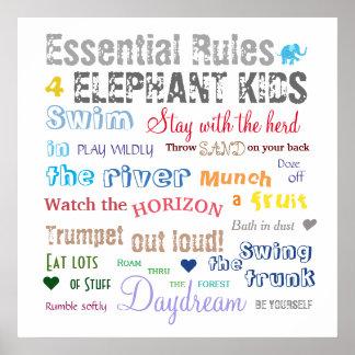 Inspirierend Spaß-Elefant-Kind ordnet Typografie Poster