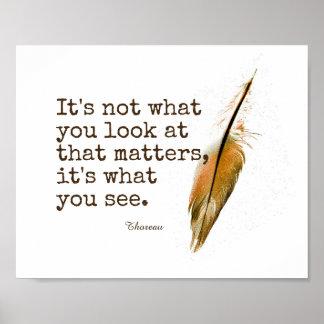 inspirierend Thoreau Zitat mit Feder Poster