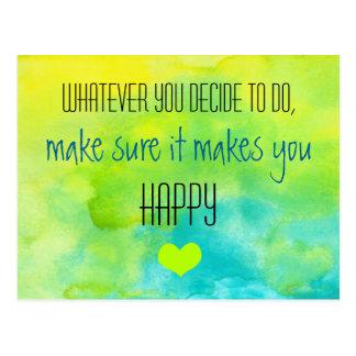Inspirierend Zitat auf Glück Postkarte