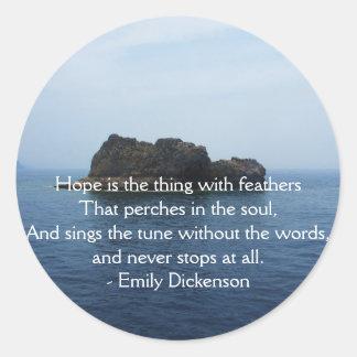 Inspirierend ZITAT Emilys Dickenson für das Heilen Runder Aufkleber