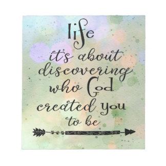 Inspirierend Zitat: Entdeckung, wem Gott schuf Notizblock