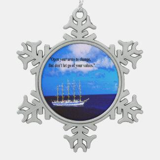 Inspirierend Zitat Schneeflocken Zinn-Ornament