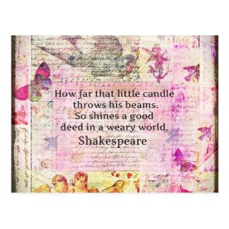 Inspirierend Zitat Shakespeare über gute Taten Postkarte