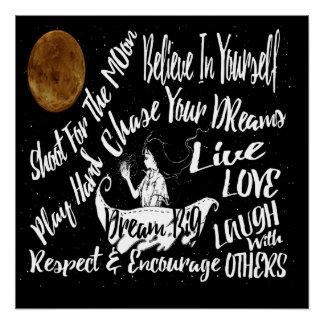 Inspirierend Zitat spielt @ Nachtplakat die Poster