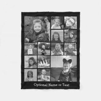 Instagram Foto-Collage - bis 14 Fotos schwärzen Fleecedecke