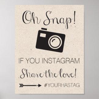 Instagram Hashtag Hochzeits-Zeichen Poster