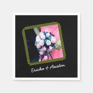 Instagram Hochzeits-Foto-Schwarzes GRÜN Papierservietten