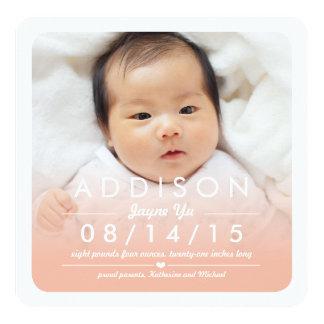 Instagram quadratische Baby-Geburts-Mitteilung Quadratische 13,3 Cm Einladungskarte