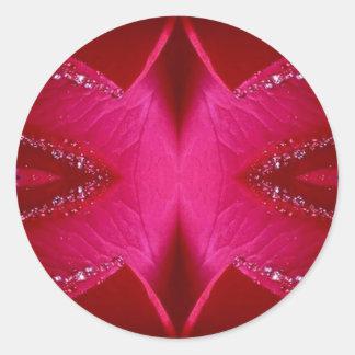 Intelligente einfache Grafiken - rote n rosa Rose Runder Aufkleber
