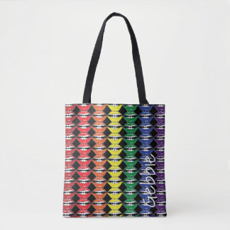 Intelligente Mund-Regenbogen-Lippen mit Namen auf Tasche