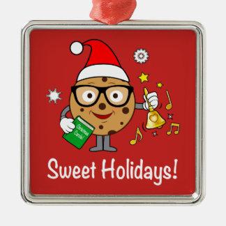 Intelligentes Plätzchen: Süße Feiertage! Quadratisches Silberfarbenes Ornament