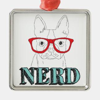 Intelligentestes Boston Terrier Quadratisches Silberfarbenes Ornament