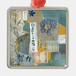Intelligenz Quadratisches Silberfarbenes Ornament