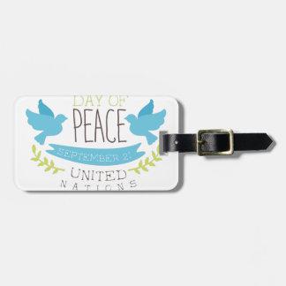 Internationale Friedenstagesaufkleber-Entwürfe in Kofferanhänger